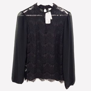 NWT Forever21 Lace Blouse, Black